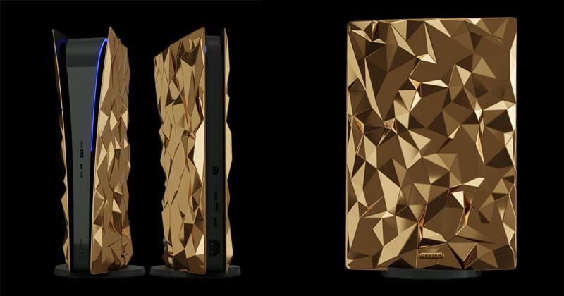 Vorder-/Rückseite sowie Seitenteil der goldenen PlayStation 5 (Fotos: Caviar)