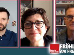 Szene aus dem Gamechanger-Talk mit Verbands-Geschäftsführer Falk, SPD-Chefin Esken und EA-Deutschland-Chef Kosche (Screenshot: Twitch)