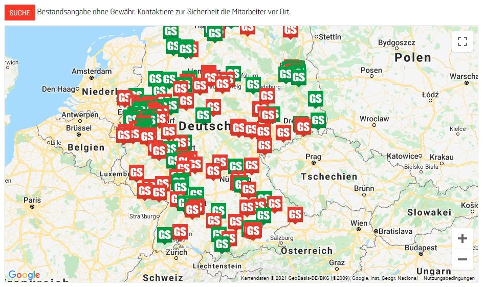 Angebliche PS5-Verfügbarkeit bei GameStop: So sah die Store-Locator-Karte am Vormittag des 12. März aus (Screenshot)