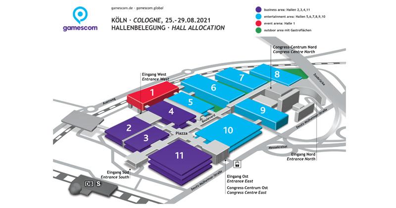Der vorläufige Hallenplan der Gamescom 2021 (Abbildung: KoelnMesse)