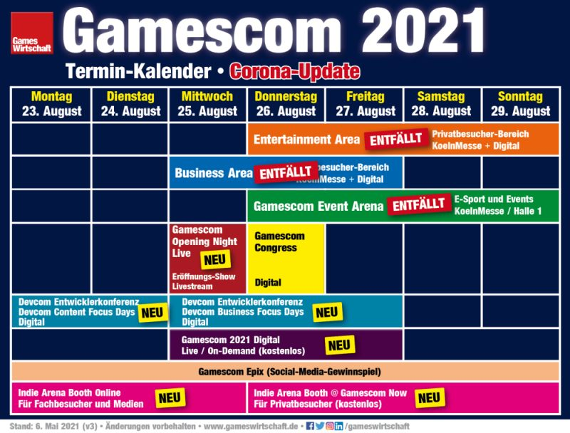 Gamescom 2021: Termine, Shows, Konferenzen (Stand: 6. Mai 2021 - Änderungen vorbehalten)