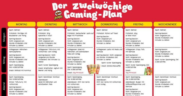 Pringles Gaming-Bootcamp: Auszug dem zweiwöchigen 'Gaming-Plan' (Abbildung: Kellogg Company)