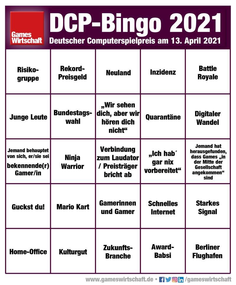 Der DCP-Bingo-Schein für den Deutschen Computerspielpreis 2021