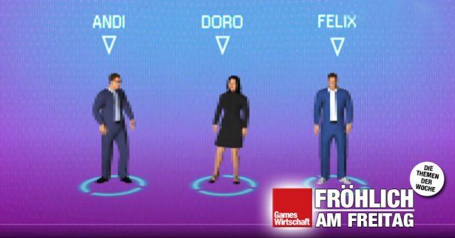 Szene aus dem Livestream zum Deutschen Computerspielpreis 2021: Andreas Scheuer, Dorothee Bär und Felix Falk als Pixel-Figuren (Screenshot)
