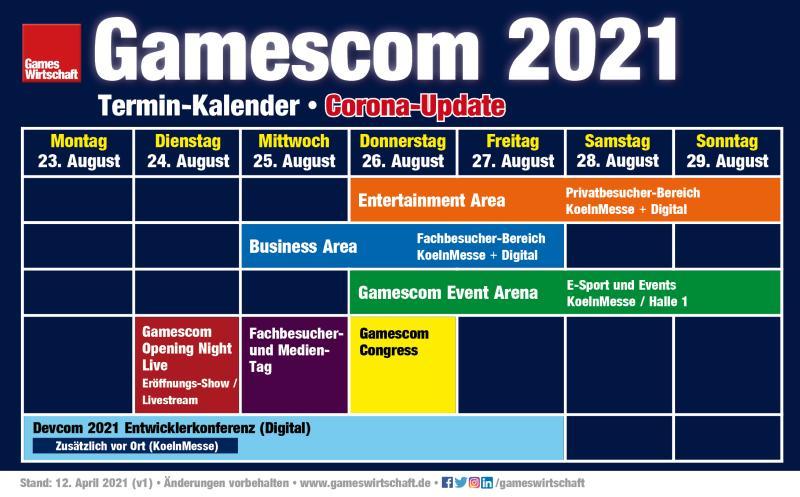 Der vorläufige Terminkalender Gamescom 2021 (Stand: 12. April 2021)