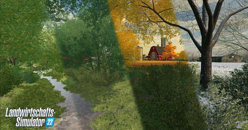 Die Spielwelt des Landwirtschafts-Simulator 22 verändert sich entlang der vier Jahreszeiten (Abbildung: Giants Software)