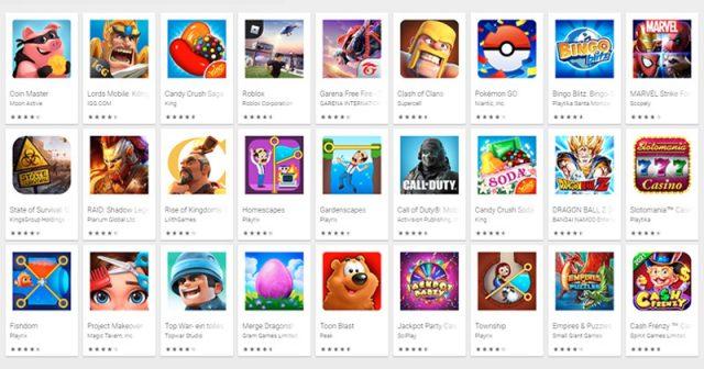 Die umsatzstärksten Smartphone-Games bei Google Play im April 2021 (Screenshot)