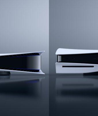 PlayStation 5 Digital Edition (links) und die PlayStation 5 mit Laufwerk im Vergleich (Abbildungen: Sony Interactive)