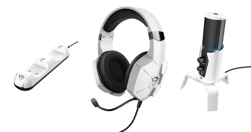 Neuheiten für PS5-Besitzer: Ladestation, Headset und Streaming-Mikrofon (Abbildungen: Trust Gaming)