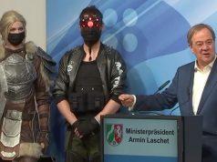 NRW-Ministerpräsident Armin Laschet (rechts) bei der Eröffnung des Fusion Campus am 29. Juni in Düsseldorf (Quelle: YouTube)