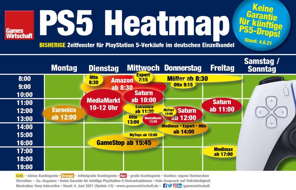 PS5-Heatmap: Bisherige PlayStation-5-Verkaufszeitfenster zwischen Januar und Mai 2021 im deutschen Einzelhandel (Stand: 4. Juni 2021)