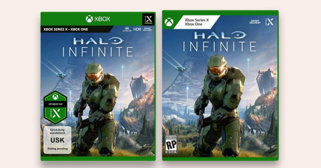 Das bisherige Packungs-Design - rechts die neue Version am Beispiel von Halo: Infinite (Abbildungen: Microsoft)