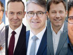 Die Teilnehmer beim Debatt(l)e Royale 2021: Jörg Schindler (Linke), Volker Wissing (FDP), Stefan Hennewig (CDU), Lars Klingbeil (SPD) und Michael Kellner (Bündnis 90/Grünen) - Fotos: Tobias Koch (2x), Martin Heinlein, Rasmus Tanck, FDP
