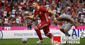 Szene aus eFootball: Der FC Bayern (hier: Niklas Süle) kooperiert seit 2019 mit Konami.