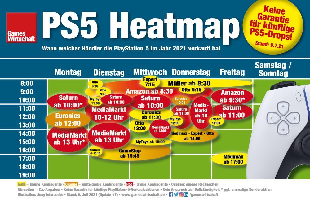 PS5-Heatmap: Bisherige PlayStation-5-Verkaufszeitfenster zwischen Januar und Mai 2021 im deutschen Einzelhandel (Stand: 12. Juli 2021)