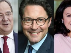 Armin Laschet (CDU), Andreas Scheuer (CSU) und Dorothee Bär (CSU) eröffnen die Gamescom 2021 (Fotos: Laurence Chaperon, Daniel Biskup, Bundesregierung)