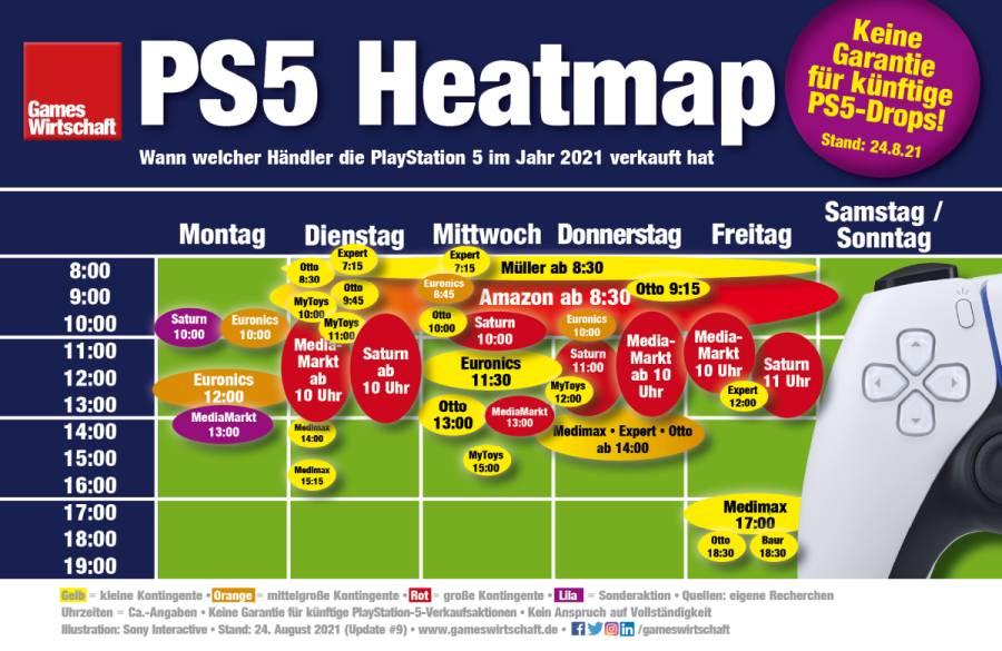 PS5-Heatmap: Bisherige PlayStation-5-Verkaufszeitfenster zwischen Januar und Mai 2021 im deutschen Einzelhandel (Stand: 24. August 2021)