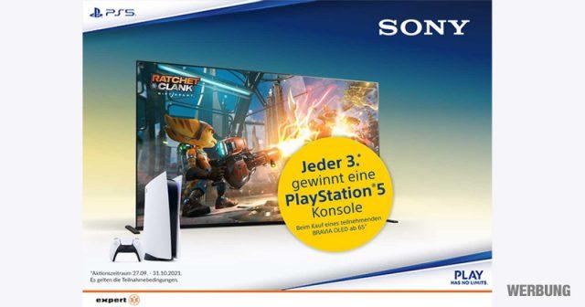 Expert-Aktion: Beim Kauf eines Sony-TV-Aktions-Modells können Sie mit etwas Glück eine PlayStation 5 gewinnen (Abbildung: Expert)