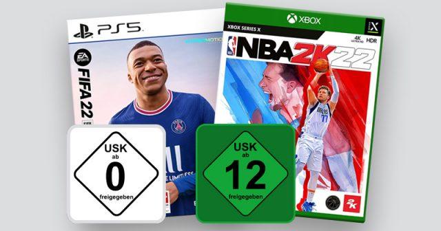 Zwei Sportspiele, zwei USK-Wertungen: FIFA 22 ist ohne Einschränkung freigegeben - NBA 2K22 ab 12 Jahren (Abbildungen: USK, EA, Take Two)