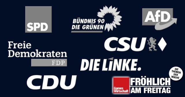 Diese sieben Parteien haben realistische Chancen, nach der Bundestagswahl 2021 dem künftigen Parlament anzugehören (Abbildungen: CDU, CSU, SPD, Bündnis 90/Die Grünen, Die Linke, AfD, FDP)