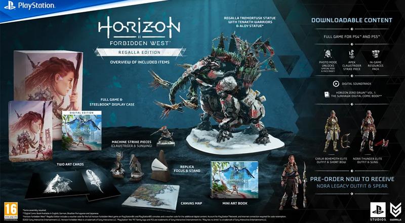 Der Inhalt der limitierten Horizon: Forbidden West Regalla Edition für knapp 300 Euro (Abbildung: Sony Interactive)