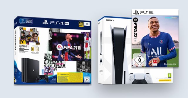 Kommt analog zu FIFA 21 auch ein offizielles FIFA 22-Bundle für PlayStation 5? (Abbildungen: Electronic Arts / Sony Interactive)