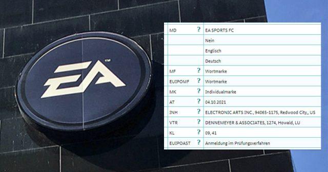 Am 4. Oktober 2021 hat Electronic Arts Markenschutz für EA Sports FC beantragt (Screenshot: DPMA)